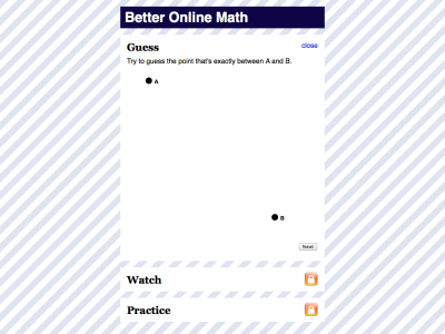 Screenshot of Better Online Math - Midpoint