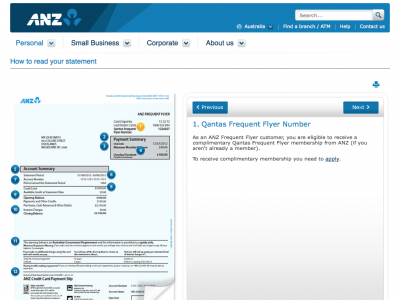 Screenshot of ANZ How to read your statement