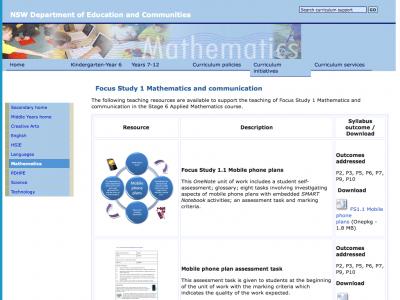 Screenshot of Focus Study 1 Mathematics and communication