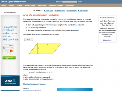 Screenshot of Area of a parallelogram - derivation