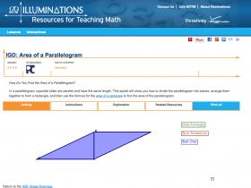 Screenshot of Area of a Parallelogram