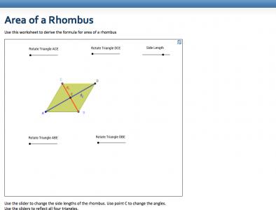 Screenshot of Area of a Rhombus