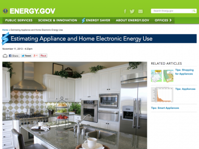 Screenshot of Estimating Appliance and Home Electronic Energy Use