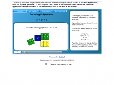 Screenshot of Factoring Polynomials with and without Algebra Tiles
