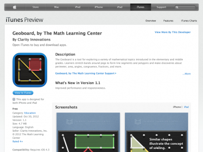 Screenshot of Geoboard, by The Math Learning Centre (app)