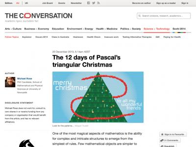 Screenshot of The 12 days of Pascal's triangular Christmas