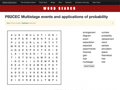 Screenshot of Multistage events and applications of probability word search