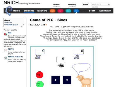 Screenshot of Game of PIG - Sixes