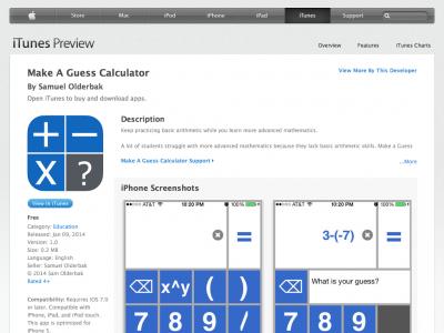 Screenshot of Make A Guess Calculator
