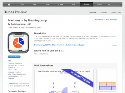 Screenshot of Fractions by Brainingcamp (iOS app)