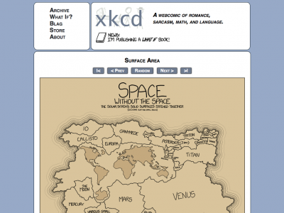 Screenshot of xkcd: Surface Area - Space without the space