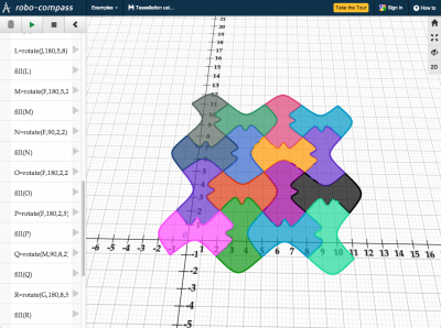 Screenshot of Tessellation construction using rotation - Robocompass