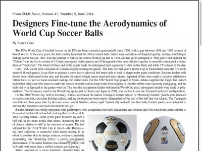 Screenshot of Designers Fine-tune the Aerodynamics of World Cup Soccer Balls