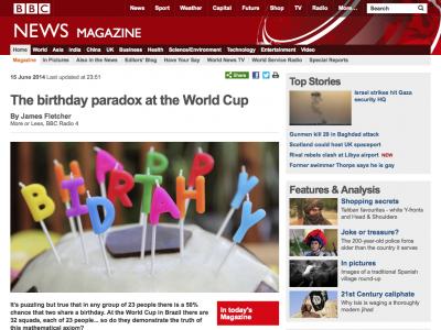 Screenshot of The birthday paradox at the World Cup