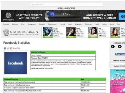 Screenshot of Facebook Statistics