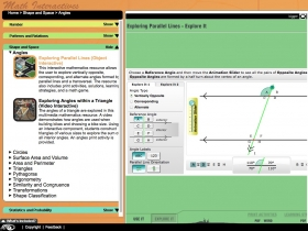 Screenshot of 'Exploring Parallel Lines' - Maths Interactives