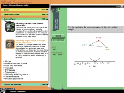 Screenshot of Exploring Angles within a Triangle - Maths Interactives