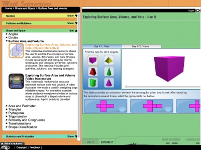 Screenshot of 'Explore Surface Area, Volume and Nets' - Maths Interactives