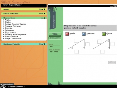 Screenshot of Exploring Trigonometry - Maths Interactives