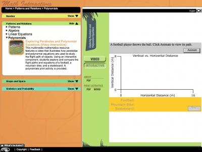 Screenshot of Exploring Parabolas - Maths Interactives