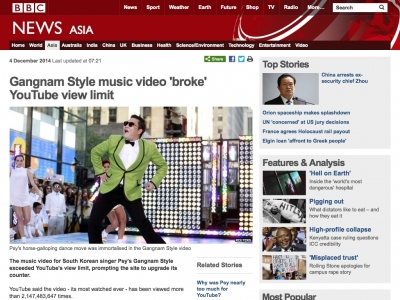 Screenshot of Gangnam Style music video 'broke' YouTube view limit