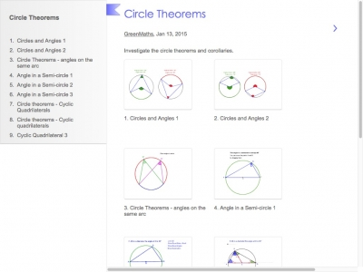 Screenshot of Circle Theorems by GreenMaths