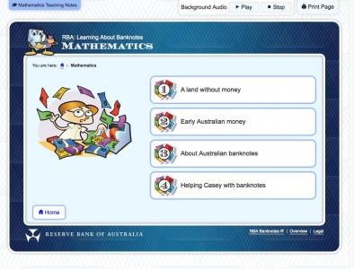 Screenshot of Learning About Banknotes