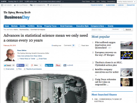 Screenshot of Advances in statistical science mean we only need a census every 10 years