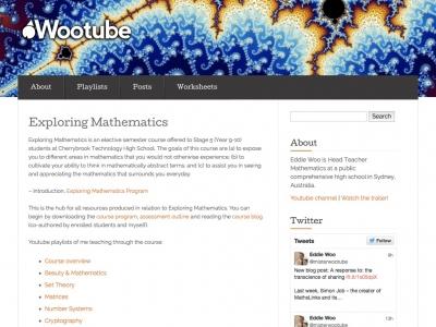 Screenshot of Exploring Mathematics - an elective maths course