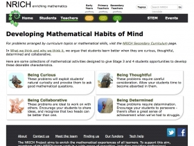 Screenshot of Developing Mathematical Habits of Mind - NRICH