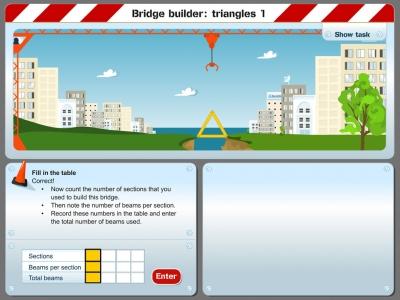 Screenshot of Bridge builder: triangles 1