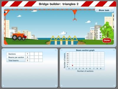 Screenshot of Bridge builder: triangles 2