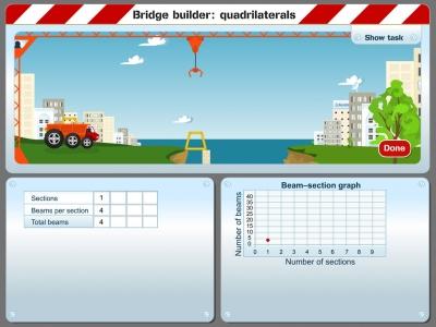 Screenshot of Bridge builder: quadrilaterals