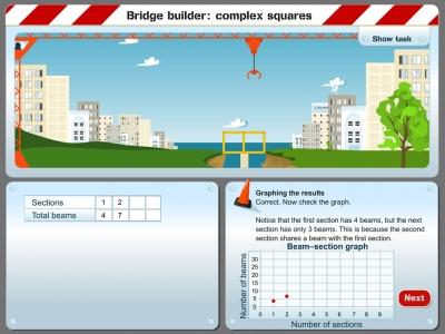 Screenshot of Bridge builder: complex squares