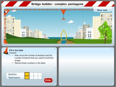 Screenshot of Bridge builder: complex pentagons