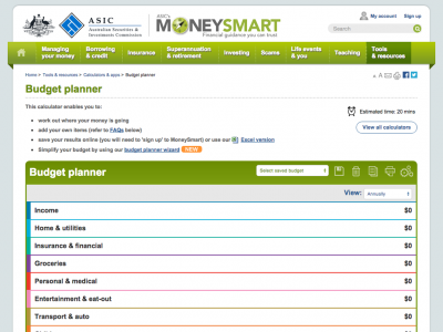 Screenshot of Budget Planner