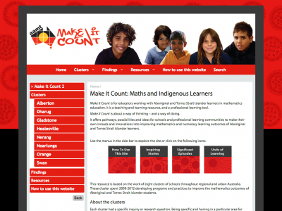 Screenshot of Make It Count: Maths and Indigenous Learners