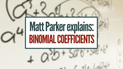 Screenshot of Matt Explains: Binomial Coefficients [featuring: choose function, pascal's triangle]