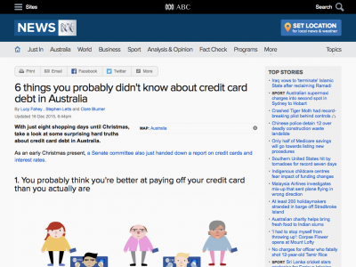 Screenshot of 6 things you probably didn't know about credit card debt in Australia