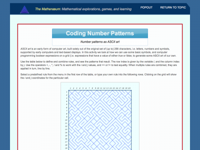 Screenshot of Coding Number Patterns