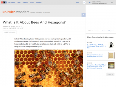 Screenshot of What Is It About Bees And Hexagons?