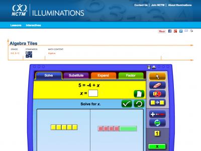 Screenshot of Algebra Tiles