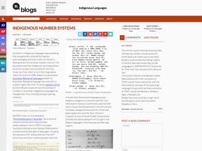Screenshot of Indigenous Number Systems
