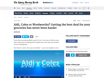 Screenshot of Aldi, Coles or Woolworths? Getting the best deal for your groceries has never been harder