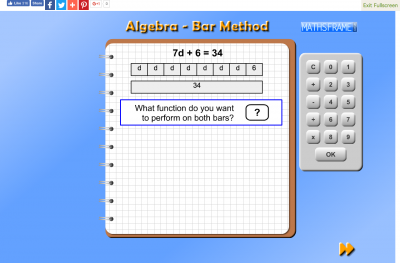 Screenshot of Algebra Bar Method