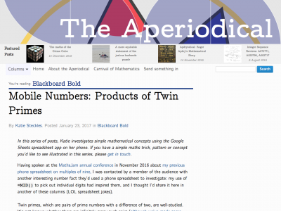 Screenshot of Mobile Numbers: Products of Twin Primes