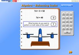 Screenshot of Algebra - Balancing Scale
