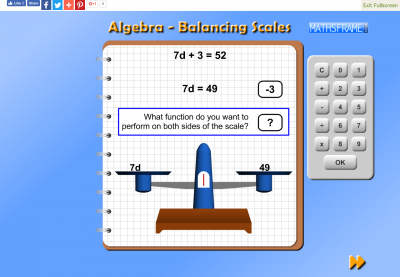 Screenshot of Algebra - Balancing Scale