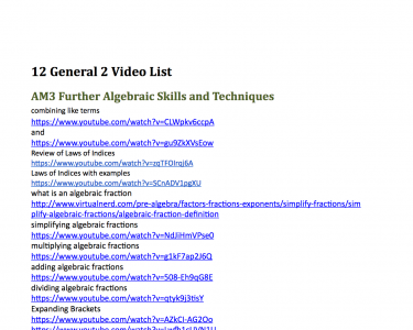 Screenshot of Year 12 HSC General 2 Maths Video List