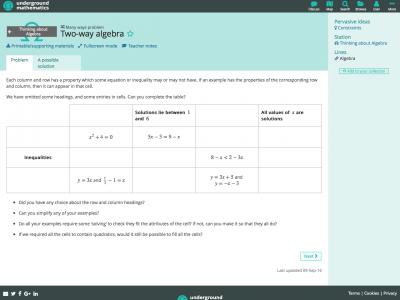Screenshot of Two-way algebra